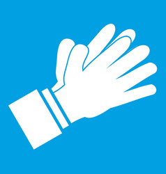 Clapping applauding hands icon white vector