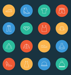 Clothes icons line style set with gumshoes dress vector
