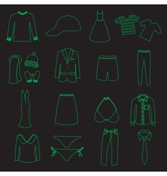 clothing simple outline icons set eps10 vector image