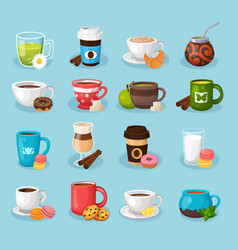 colorful tea and coffee labels set vector image
