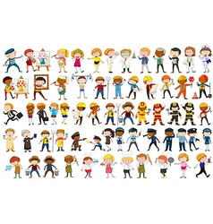 Different character of many occupations vector image vector image