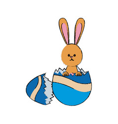 Easter bunny with broken egg celebration vector