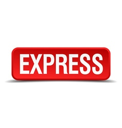 Express red 3d square button isolated on white vector