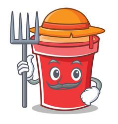 farmer bucket character cartoon style vector image