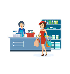 Girl produce shopping the store holding the bag vector