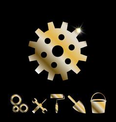 Gold gear icon vector