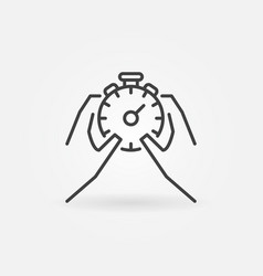 Hands holding stopwatch icon vector