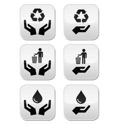 Hands with green ecology symbols icons set vector image vector image