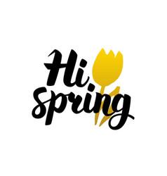 Hi spring handwritten lettering vector
