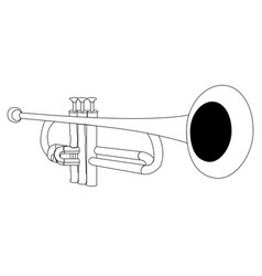 isolated trumpet outline vector image vector image