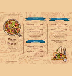 italian pizza restaurant menu template with vector image