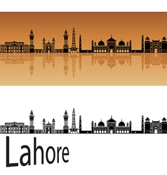 Lahore skyline in orange vector image vector image
