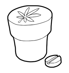Medical marijuana bottle and tablet icon vector