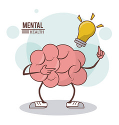 Mental health cartoon brain bulb illumination vector