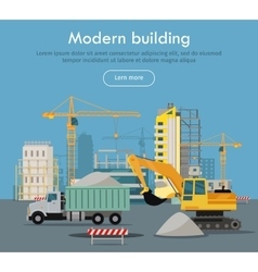 Modern Building Flat Design Web Banner vector image vector image