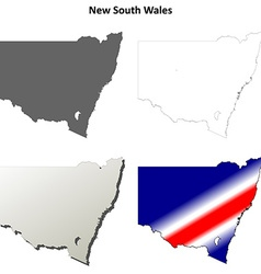 New South Wales outline map set vector image