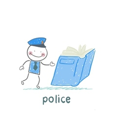 Police reads the book vector image
