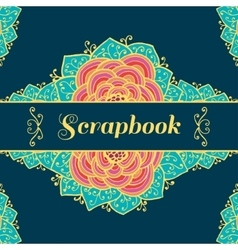Scrapbook background with flowers vector image