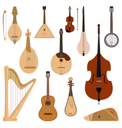 Set of stringed dreamed musical instruments vector