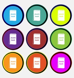 Sketchbook icon sign nine multi colored round vector