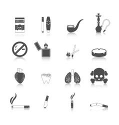 Smoking icon black set vector
