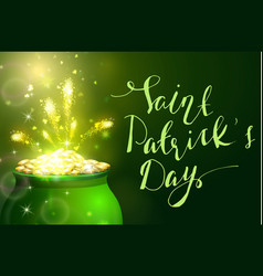 st patrick s day symbol green pot vector image vector image