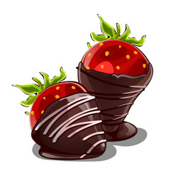 Strawberry dessert in chocolate isolated vector