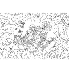 Swan coloring page vector image vector image