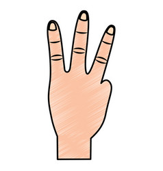 Three fingers up hand gesture icon image vector