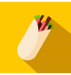 Tortilla wrap with meat and vegetables icon vector image