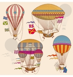 Vintage air balloon set vector image