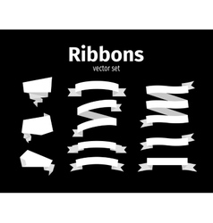 White ribbons on black set vector image vector image