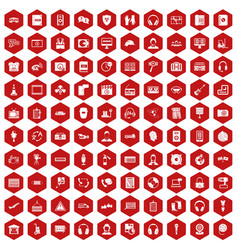 100 headphones icons hexagon red vector image