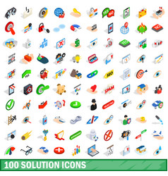 100 solution icons set isometric 3d style vector
