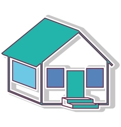 Colorful contour side house with shadow vector