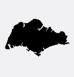 Singapore island map silhouette vector