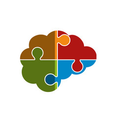 Brain human with puzzle pieces creative icon vector