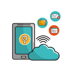smartphone with cloud data service connection vector image