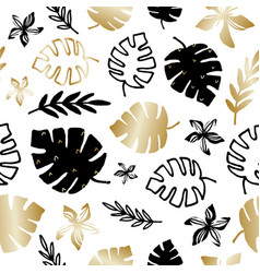 Gold and black tropical leaves seamless pattern vector
