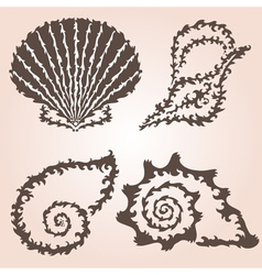 Decorative seashells set vector