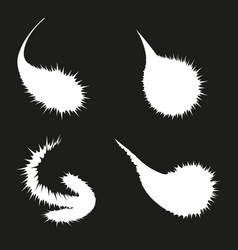 Set of white blots on black background vector