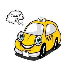 Cute yellow cartoon taxi with a thought bubble vector