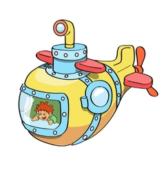 Submarine cartoon colored vector