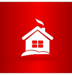 Nice christmas house on the red background vector
