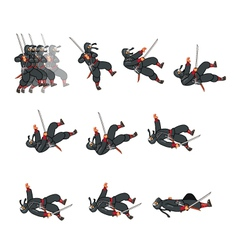 Ninja dying game sprite vector