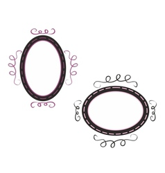 Hand drawn black and pink decorative frames vector image