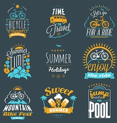 Set of summer holidays badges hipster vintage vector