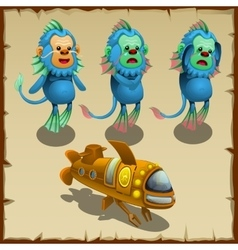 Three underwater blue monkeys and yellow submarine vector