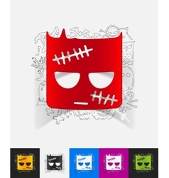Zombie paper sticker with hand drawn elements vector