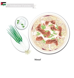 Mensaf or jordanian lamb stew with rice vector
